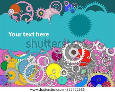 Background with cogwheels a clockwork. Macro, extreme closeup. Color Clock mechanism - stock vector