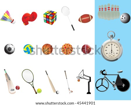 background with collection of sports equipment - stock vector