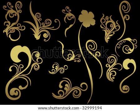 background with collection of tattoos - stock vector