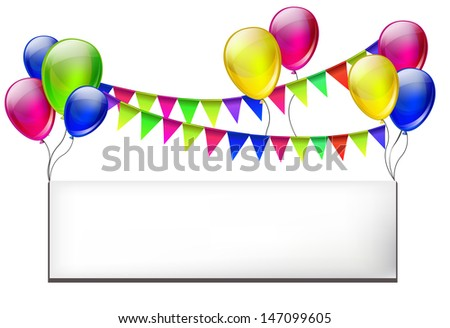 Background with color balloons for design - stock vector