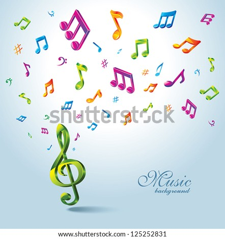 Background with Color Music Notes. - stock vector