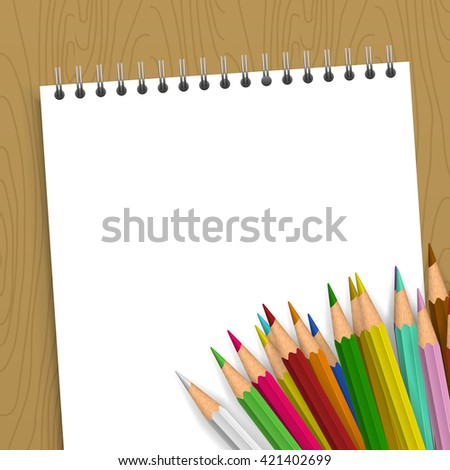 Background with color pencils. Empty notebook with color pencil on the table - stock vector