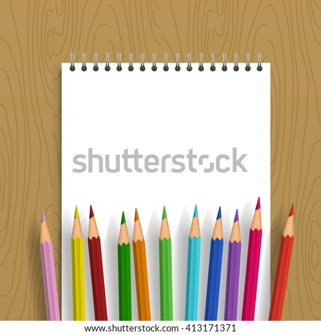 Background with color pencils. Notebook with apty leaf with color pencils. - stock vector