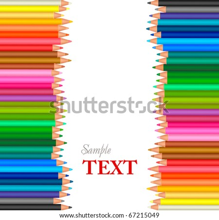 Background with color pencils. Vector - stock vector
