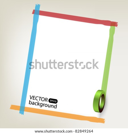 Background with color tapes - stock vector