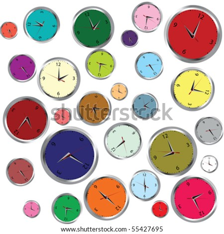 Background with colored clocks