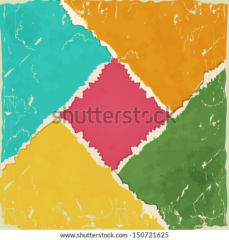 Background with colored torn paper. - stock vector