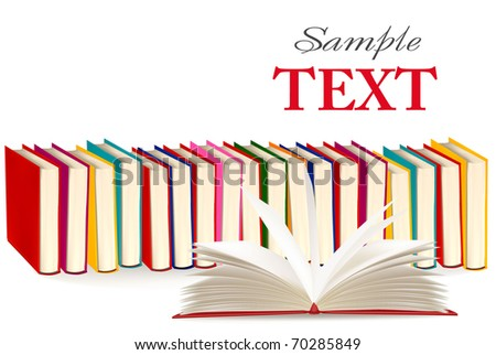Background with colorful and open books. Vector illustration. - stock vector