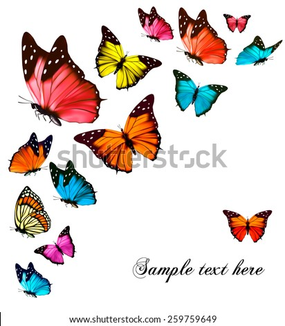 Background with colorful butterflies. Vector. - stock vector
