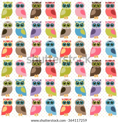 Background with colorful cute owls - stock vector