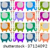 Background with colorful elephants - stock vector