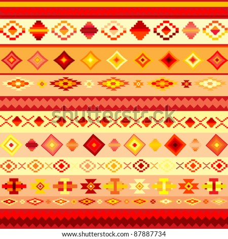 background with colorful ethnic motifs - stock vector