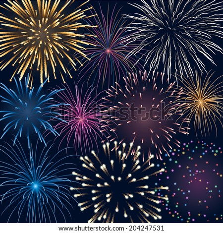 Background with colorful fireworks, EPS 10 contains transparency - stock vector