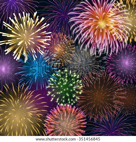Background with colorful fireworks, EPS 10 contains transparency. - stock vector