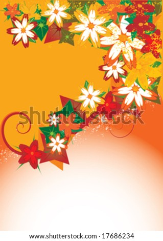 background with colorful flower and text space