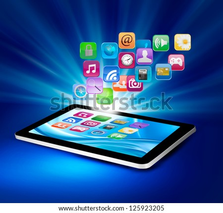 Background with colorful icons in a tablet. Vector illustration. - stock vector