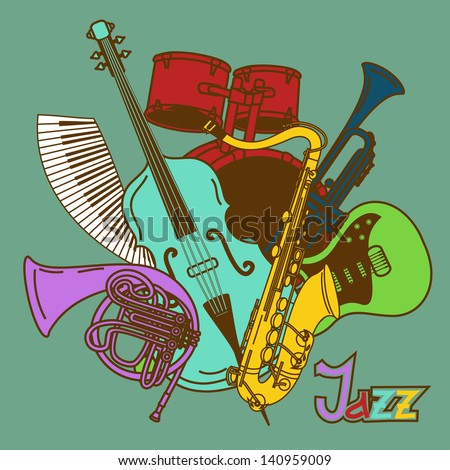 Background with colorful musical instruments - stock vector