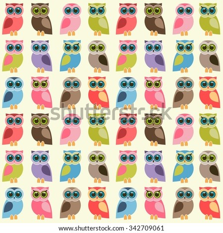 background with colorful owls and owlets - stock vector