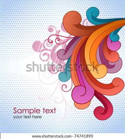 Background with colorful scrolls and copyspace. - stock vector