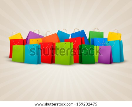 Background with colorful shopping bags. Discount concept. Vector illustration. - stock vector