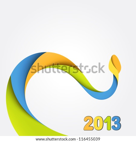 Background with colorful snake. 2013 - stock vector