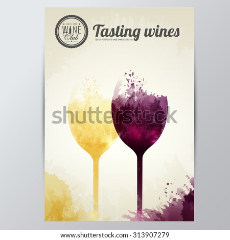 Background with colorful spots and wine. Illustration wine glasses. Expressive design background. vector - stock vector