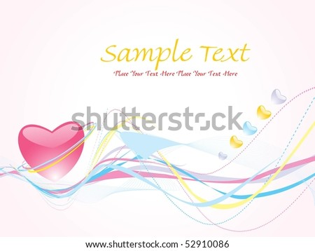 background with colorful stripes, pink heart