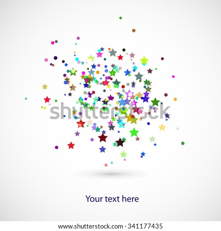 background with colors stars and circles for your text - stock vector