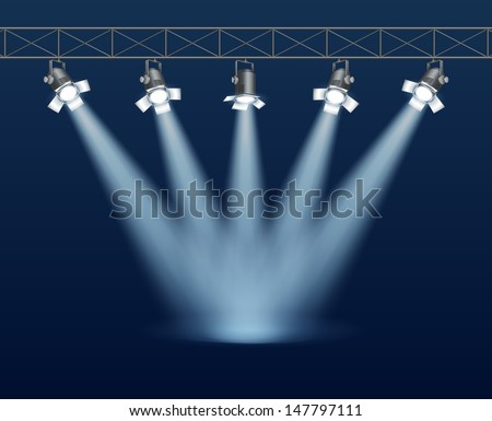 Background with concert stage, and music lights, contains transparency, EPS 10 - stock vector