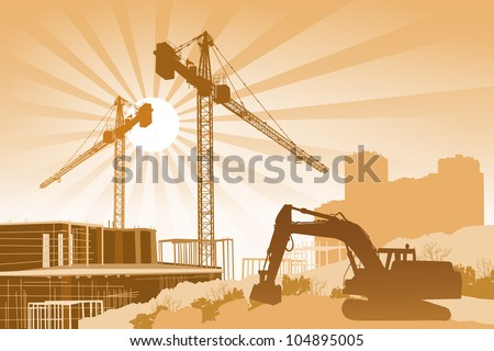 Background with cranes, scaffolding and a tractor in the foreground - stock vector