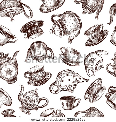 background with cups and teapots - stock vector
