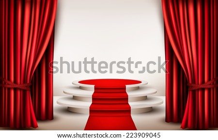 Background with curtains and red carpet leading to a podium. Vector. - stock vector