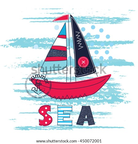 Background with cute abstract sailing ship and lettering