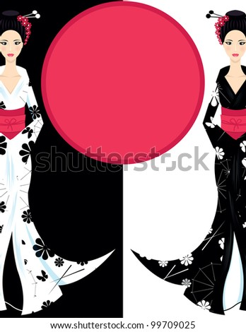 background with Cute Asian Girl Character on scarlet kimono - stock vector