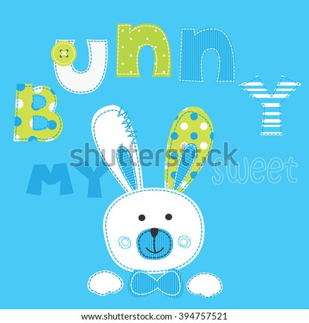 Background with cute bunny boy and lettering - stock vector