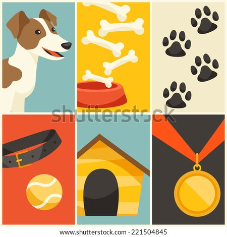 Background with cute dog, icons and objects. - stock vector