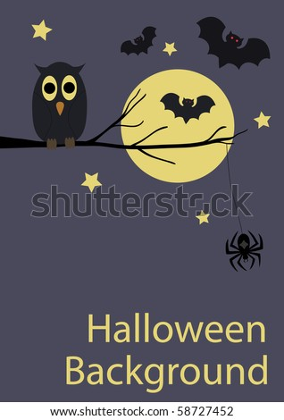 Background with cute owl, spider and bats for your Halloween design - stock vector