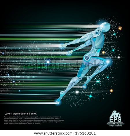 background with cyborg flying or running with speed of light and motion blur track back for it - stock vector