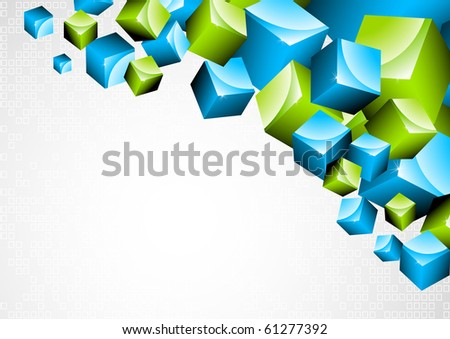 Background with 3d box. Vector illustration - stock vector