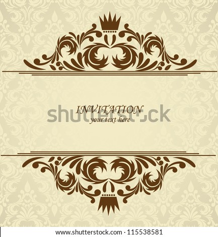 Background with damask pattern. Abstract illustration - stock vector