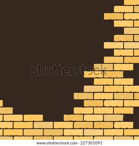 Background with decorative brick wall. Vector illustration - stock vector