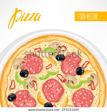 background with delicious pizza with sausage and mushrooms with place for text - stock vector