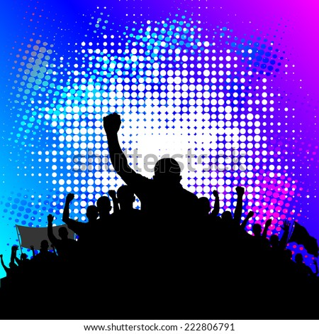 background with demonstrating crowd - stock vector