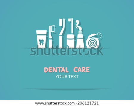 Background with dental care symbols: tooth brush, tooth paste, dental floss - stock vector