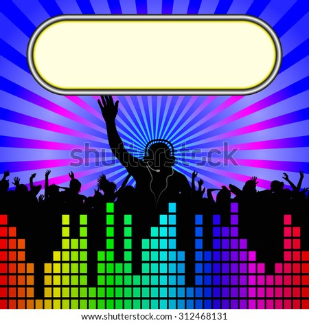 background with DJ and dancers silhouette - stock vector