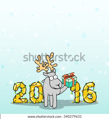 Background with doodle reindeer and Christmas inscription. Celebratory background. New Year 2016 and Christmas. Falling snowflakes. Christmas design. - stock vector