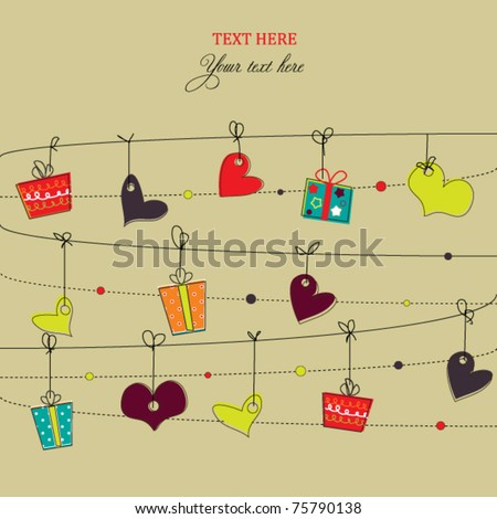 Background with doodled hearts and gift boxes