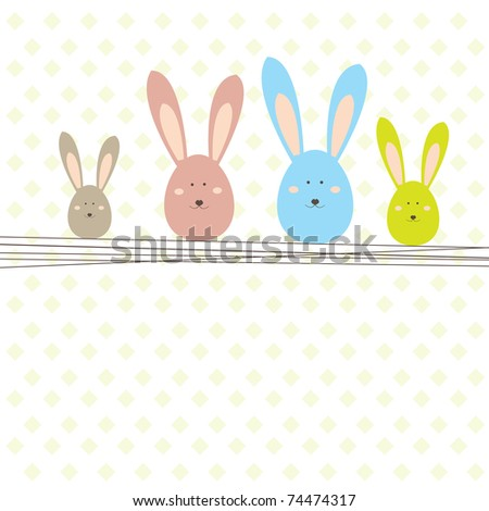 Background with Easter card and rabbit . Vector illustration - stock vector
