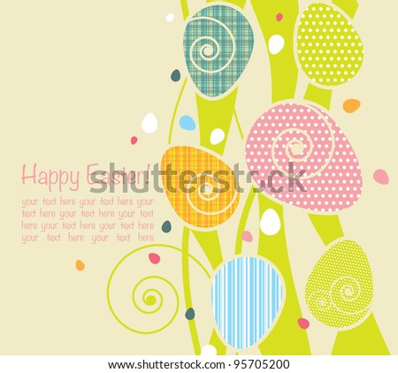 background with easter eggs - stock vector