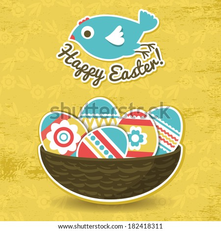 background with easter eggs and one bird, vector - stock vector